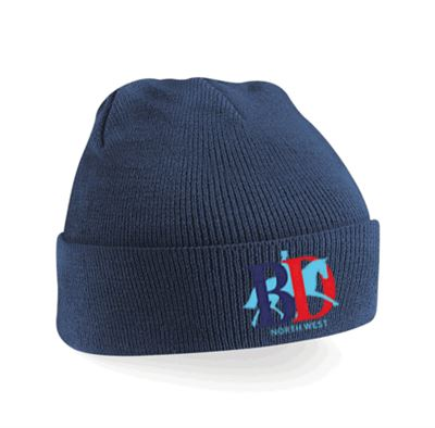 BLK KNITTED HAT NAVY NORTH WEST LOGO