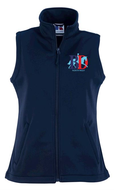 LADIES SOFTSHELL GILET NAVY NORTH WEST LOGO