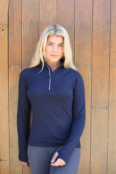 blue tech zip neck top 2