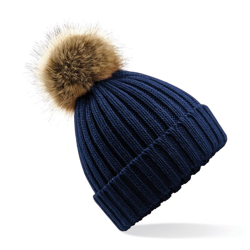 Chunky Fake Fur Bobble Hat. BC412 Navy FT cf786124f6e